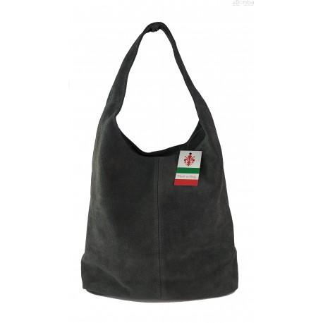 Zamszowy worek , Włoska skórzana torba xl a4 szary shopper bag W356G