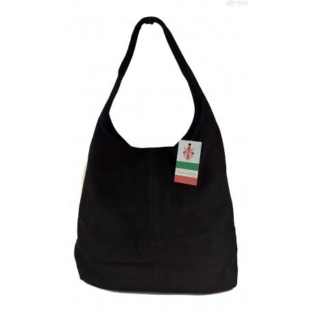 Zamszowy worek , Włoska skórzana torba xl a4 Czarny shopper bag W356N