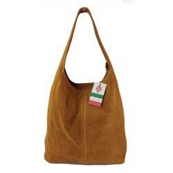 Zamszowy worek , Włoska skórzana torba xl a4 Camel shopper bag W356C