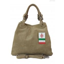 Miękki zamszowy kuferek -Włoski worek Vera Pelle ,Beżowy KLM425T