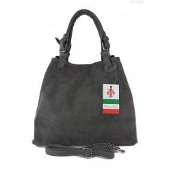 Miękki zamszowy kuferek -Włoski worek Vera Pelle ,Szary KLM425G