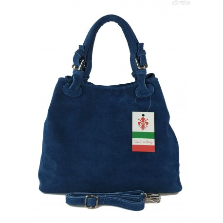 Miękki zamszowy kuferek -Włoski worek Vera Pelle ,Niebieski KLM425BJ