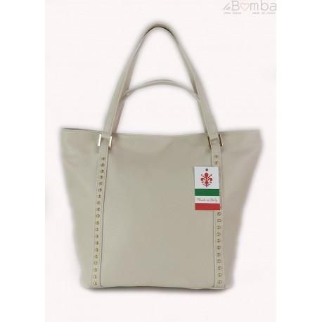 Duża włoska torba na ramię,podwójne uszy, worek Vera Pelle ,Beżowy WM555T
