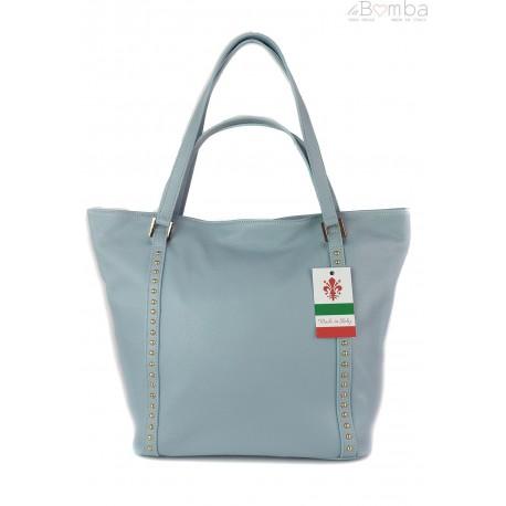 Duża włoska torba na ramię,podwójne uszy, worek Vera Pelle ,Blue WM555BB