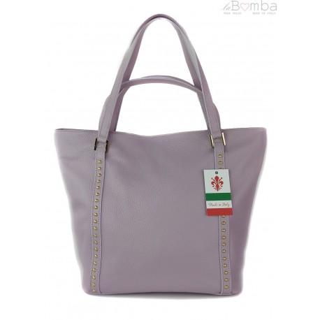 Duża włoska torba na ramię,podwójne uszy, worek Vera Pelle ,Liliowa WM555WR