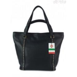 Duża włoska torba na ramię,podwójne uszy, worek Vera Pelle ,Czarna WM555N