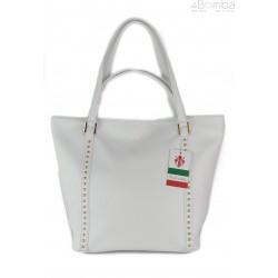 Duża włoska torba na ramię,podwójne uszy, Biały worek Vera Pelle ,WM555B