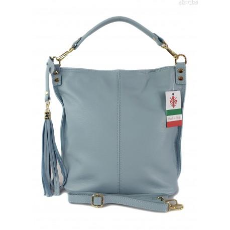 Worek na ramię Vera Pelle złote okucia pojemny a4 włoska torba Blue W76BB