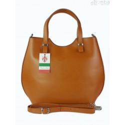 Włoska torebka skórzana Vera Pelle , shopper srebrne okucia A4 Camel SB4116C