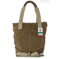 Miękki zamszowy worek -Włoski shopper Vera Pelle , Beżowa W234T