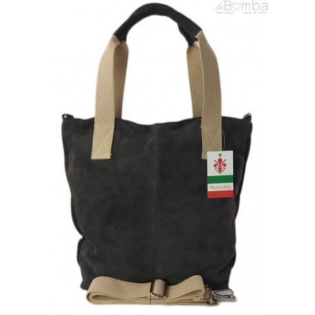 Miękki zamszowy worek -Włoski shopper Vera Pelle ,Szary W234G