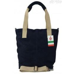 Miękki zamszowy worek -Włoski shopper Vera Pelle , Granatowy W234BS