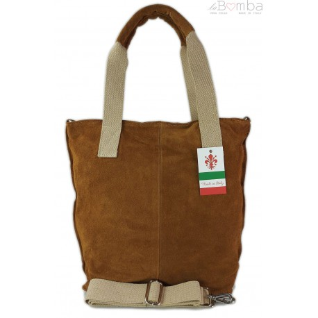 Miękki zamszowy worek -Włoski shopper Vera Pelle , Camel W234C