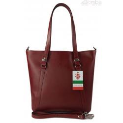 Klasyczna Włoska torebka skórzana na ramię mieści A4 ,Vera Pelle , Bordowa MVN14R