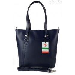 Klasyczna Włoska torebka skórzana na ramię mieści A4 ,Vera Pelle , Granatowa MVN14BS