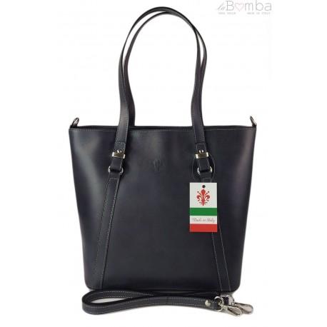 Klasyczna Włoska torebka skórzana na ramię mieści A4 ,Vera Pelle , Szara MVN14G