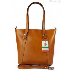 Klasyczna Włoska torebka skórzana na ramię mieści A4 ,Vera Pelle , Camel MVN14C