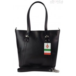 Klasyczna Włoska torebka skórzana na ramię mieści A4 ,Vera Pelle , Czarna MVN14N