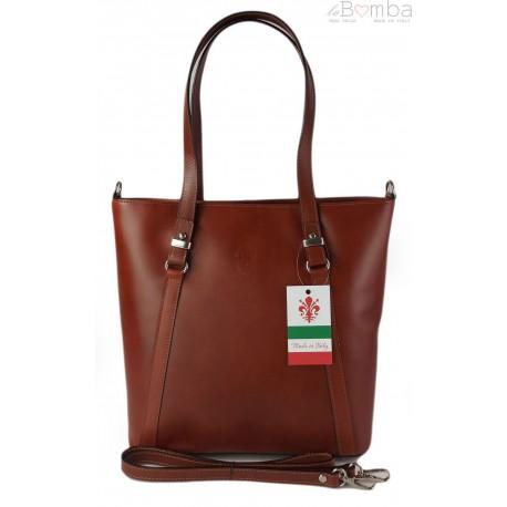 Klasyczna Włoska torebka skórzana na ramię mieści A4 ,Vera Pelle , Brązowa MVN14M