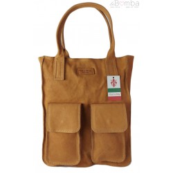 Duży Włoski worek Vera Pelle ,pojemna torba ,kieszenie Camel BY44C2