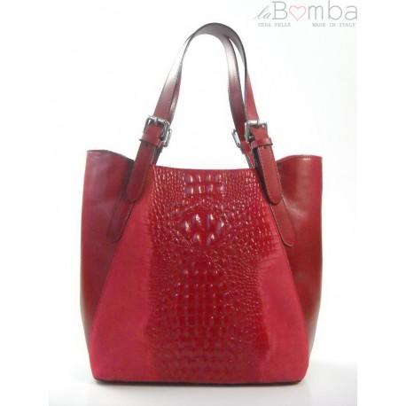 Włoska torebka skórzana na ramię ,Vera Pelle A4, shopper bag krokodyl Czerwona SBV7R