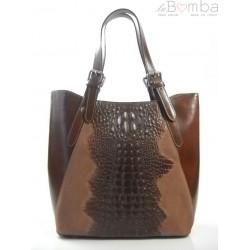 Włoska torebka skórzana na ramię ,Vera Pelle A4, shopper bag krokodyl Brązowa SBV7M