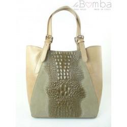 Włoska torebka skórzana na ramię ,Vera Pelle A4, shopper bag krokodyl Beżowa SBV7T
