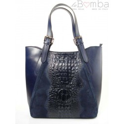 Włoska torebka skórzana na ramię ,Vera Pelle A4, shopper bag krokodyl Granatowa SBV7BS