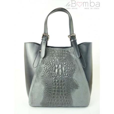 Włoska torebka skórzana na ramię ,Vera Pelle A4, shopper bag krokodyl Szara SBV7G