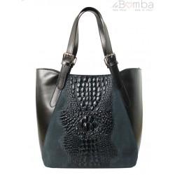 Włoska torebka skórzana na ramię ,Vera Pelle A4, shopper bag krokodyl Czarna SBV7N