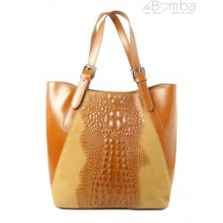 Włoska torebka skórzana na ramię ,Vera Pelle A4, shopper bag krokodyl Camel SBV7C