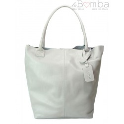 SKÓRZANA TOREBKA SHOPPER BAG XXL REAL LEATHER WOREK A4 SZARA S6BG