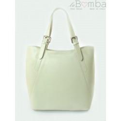 Włoska torebka skórzana na ramię ,Vera Pelle A4,shopper bag Ecru V77B1