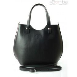 Włoska torebka skórzana Vera Pelle , shopper srebrne okucia A4 Czarna SB4116N