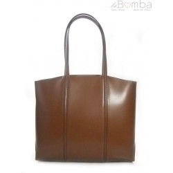 TOREBKA GENUINE LEATHER NA RAMIĘ A4 BRĄZ T99M