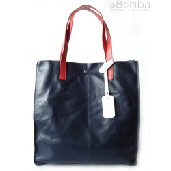 TOREBKA WOREK SHOPPER BAG GENUINE LEATHER NA RAMIĘ A4 GRANATOWA GL46BSB