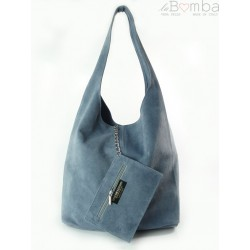 WOREK ZAMSZ SHOPPER BAG WŁOSKA SKÓRZANA TORBA XL A4 BLUE W456BS2