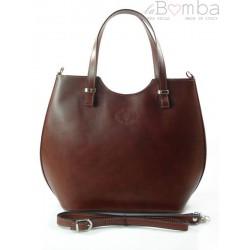 Włoska torebka skórzana Vera Pelle , shopper srebrne okucia A4 Brązowa SB4116M