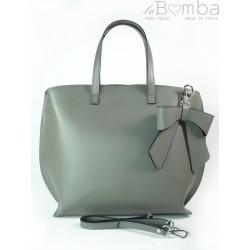 Szara Włoska torba A4 Shopper Bag Vera Pelle SB689G