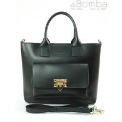 Kuferek złote okucia pojemny A4 Włoska torba do ręki Vera Pelle Czarna K415N