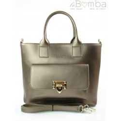 Kuferek złote okucia pojemny A4 Włoska torba do ręki Vera Pelle Miedziana K415BRO