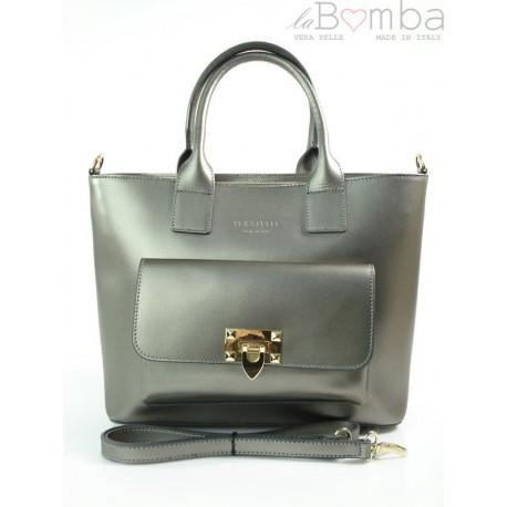 Kuferek złote okucia pojemny A4 Włoska torba do ręki Vera Pelle Ciemne Srebro K415A
