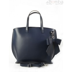 Granatowa Włoska torba A4 Shopper Bag Vera Pelle SB689BS