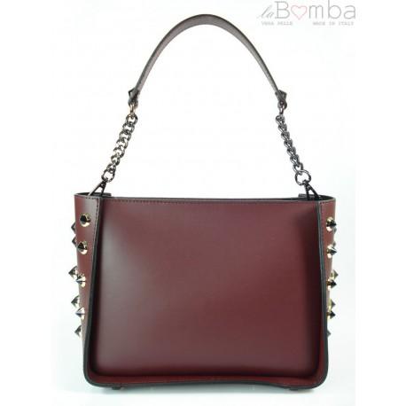 Kuferek dzety Włoska torebka do ręki Vera Pelle bordowy K521R