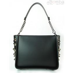 Kuferek dzety Włoska torebka do ręki Vera Pelle czarny K521N