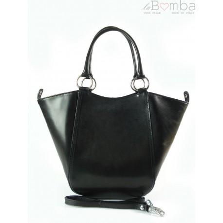 Koszyk- włoska super pojemna torebka rozkładana czarna KS468N