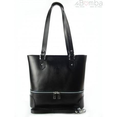 Porządna,praktyczna włoska torebka na ramię a4 czarna V335N