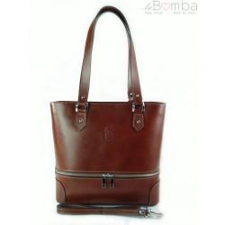 Porządna,praktyczna włoska torebka na ramię a4 brązowa V335M