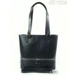 Porządna,praktyczna włoska torebka na ramię a4 szara - grafit V335G