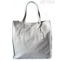 TOREBKA WOREK SHOPPER BAG GENUINE LEATHER NA RAMIĘ A4 SZARY GL46T